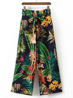 Shop Tropical Print Tie Waist Wide Leg Pants online. SheIn offers Tropical Print Tie Waist Wide Leg Pants & more to fit your fashionable needs.