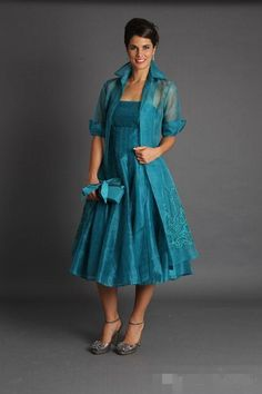Plus Size 2015 Short Mother of The Bride Jacket Dresses With Long Sleeves Tea Length Groom Blue Green Suits Evening Gowns Cheap Organza