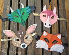 Felt Animal Masks - Pattern & Tutorial | Craftsy Masken weh, Fuchs, Einhorn /Pferd, Drache aus Filz nähen