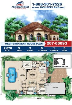 Get to know this Mediterranean design, Plan 207-00093 feature 2,878 sq. ft., 3 bedrooms, 3 bathrooms, a split bedroom layout, a lanai, and a study area. Learn more about this design on our website today!