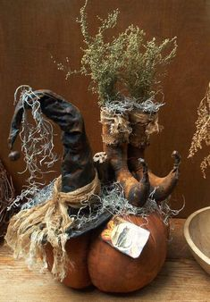 Primitive Pumpkin with Witch Hat & Boots