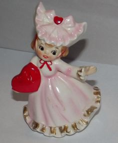Lefton Valentine Girl wearing Hat Holding Heart Figurine  Pink Dress