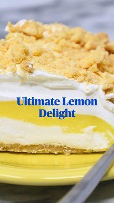 Lemon Lush Dessert, Pineapple Dessert Recipes, Citrus Recipes, Lemon Desserts, Frozen Desserts, Just Desserts, Sweet Recipes, Delicious Desserts, Lemon Cakes