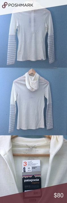 [firm/final price] NWT Patagonia Merino baselayer Ivory color with gray stripes on sleeves. Super thin but incredibly warm merino wool. Quarter zip with hood. Women's size XS, slim fit design. Price is firm unless bundled. Patagonia Tops