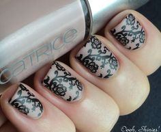nude and black lace manicure
