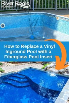 Want to upgrade from a liner pool to fiberglass? Here's how it works! Vinyl Pools Inground, Fiberglass Swimming Pools, Fiberglass Pool Installation, Leisure Pools, Free Pool, Pool Care, Pool Liners, Concrete Pool, Pool Cleaning