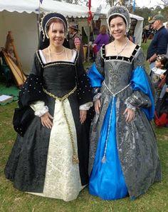 Two tudor ladies at a renaissance fair.
