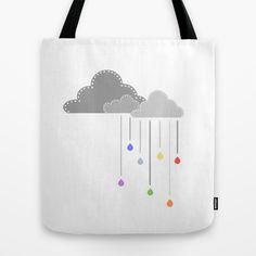 Clouds and raindrops tote bag on #society6 by Limitation Free