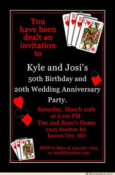 Customized to celebrate a casino 50th birthday and 20th wedding anniversary, lucky cards birthday anniversary invitation accents wording with winning hands