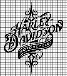 Harley Davidson (Chart/Graph AND Row-by-Row Written Instructions) - 05 Crochet Stitches Patterns, Crochet Chart, Filet Crochet, Cross Stitch Charts, Cross Stitch Designs, Cross Stitch Patterns, Bead Patterns, Harley Davidson, Beading Tools
