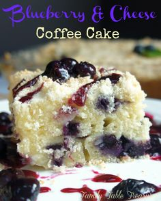 Blueberry & Cheese Coffee Cake - Family Table Treasures Sweet summer blueberries, cream cheese and a hint of lemon zest make this Blueberry & Cheese Coffee Cake the perfect summer treat to go with your morning coffee.