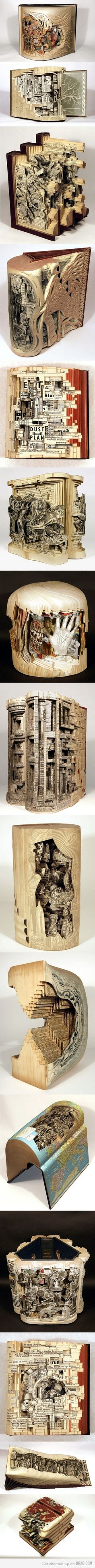buchkunst. Im sad to see books used like this,  but what an amazing use and talent!