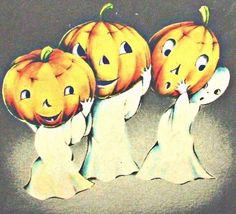 vintage Halloween ghosts with JOL pumpkins Retro Halloween, Spooky Halloween, Vintage Halloween Cards, Halloween House, Vintage Holiday, Holidays Halloween, Halloween Crafts, Halloween Decorations, Halloween Ornaments
