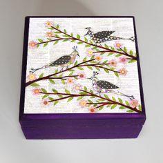 Whimsical Bird Jewelry Box, Bird Trinket Box, Collage Bird Gift Box