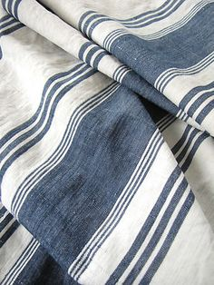 Antique blue and white ticking fabric ~ French ~