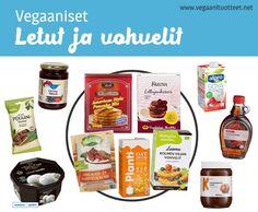 Vegaanisiin lettuihin tarvitset kasvimaitoa (esim. kauramaito), vehnäjauhoja, ja ripauksen suolaa ja sokeria. Vielä vähemmän vaivaa vaativat valmiit lettu- ja vohvelijauhot (lista: http://www.vegaanituotteet.net/herkut/leivonta-koristelu). Paketin ohjeessa mainittu muna vain jätetään pois ja maidon tilalle kasvimaitoa. Paistamiseen sopii rypsiöljy, 70% laktoositon Keiju tai juoksevat margariinit. Vegaaninen margariinilista: http://www.vegaanituotteet.net/perusruuat/margariinit