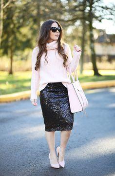 black sequin skirt blush sweater