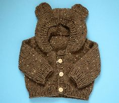 Free knitting pattern : Toddler Bear Hoodie. I have to learn to knit...
