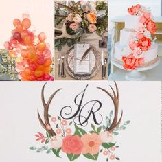 Peach and pink flower antler wedding invitation. Color customization available for this design from Behold Designz.