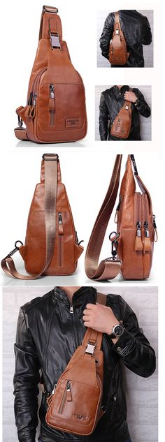 US$39.99 + Free shipping. Men casual genuine leather bag, chest Bag, crossbody bag, men's bags for work.