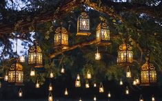 Night wedding ceremony with a lot of vintage lamps and candles on big tree stock photo Outdoor Tree Lighting, Outdoor Fairy Lights, Outdoor Trees, Backyard Lighting, Garden Lighting Ideas, Tree Lanterns, Garden Lanterns, Garden Candles, Backyard Trees