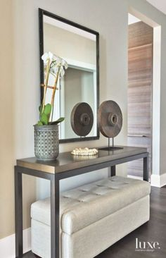 Functional Entryway in Contemporary Chicago Apartment. Home design ideas and int. Functional Entryway in Contemporary Chicago Apartment. Home design ideas and interior decorating inspiration. Chicago Apartment, Foyer Furniture, Entryway Decor, Entryway Ideas, Furniture Design, Hallway Ideas, Corridor Ideas, Home Entrance Decor, Furniture Storage