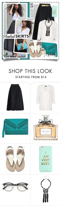"""Pleated skirt"" by giovanadoll ❤ liked on Polyvore featuring MSGM, Topshop, Melie Bianco, Christian Dior, ban.do and Bebe"