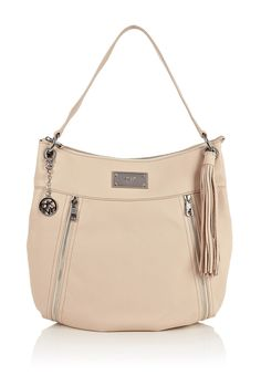 Eggshell Large Hobo Zip Shoulder Bag by DKNY