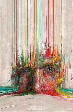 Doordat er vanuit het gezicht enkele, simpele lijnen zijn getrokken word je oog getrokken door het gezicht zelf waar veel meer gebeurd. Ook de kleuren houden het spannend.