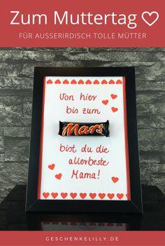 Eine schöne #Geschenkidee zum #Muttertag. Mit diesem #Mars Geschenk wirst du die Augen deiner Mutter garantiert zum Leuchten bringen! #Geschenk #DIY #Muttertagsgeschenk