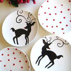 Rudolph Dessert Plates- Set of Four. $34.00, via Etsy.