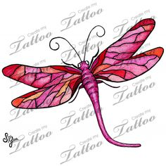 Marketplace Tattoo Ruby Red Dragonfly #7813 | CreateMyTattoo.com