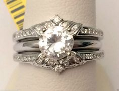 14k White Gold Solitaire Enhancer Round Diamonds Ring Guard Wrap Wedding Vintage (0.25ct. tw) by RG&D... #gold #diamonds #ringguard #wrap #enhancer #fashion #jewelery #love #gift #ringjacket #engagement #wedding #bridal #engaged #whitegold #yellowgold #online #shopping #jewelry #pintrest #follow #richmondgoldanddiamonds