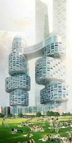 Velo Towers Seoul, Yongsan International Business District, Seoul, South Korea by Asymptote Architecture