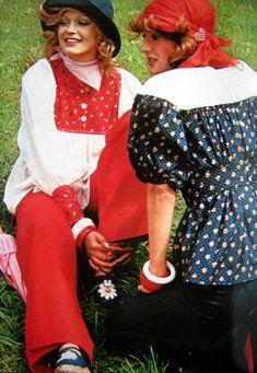 1975 Yves Saint Laurent ensemble. Elle France.