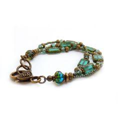 Blue Picasso Glass Bracelet - Aqua Teal Beaded Multistrand Bracelet - Seed Beads - Bohemian Jewelry