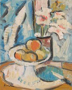 George Leslie Hunter, Still life of pink flowers and fruit
