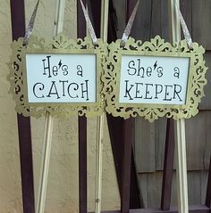 """He's a catch/She's a keeper"" Harry Potter Wedding Chair Signs, hand-painted #Handmade - Please feel free to contact me directly (https://www.pinterest.com/ekmccourt/) with custom requests for wedding decor or if the ebay listing has expired. These signs can be done in with other quotes/colors/fonts/etc and I do all sorts of other crafts too."