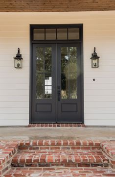 House Front Door, House Doors, Front Porch, Double Front Entry Doors, Double Doors Exterior, Porch Storage, Brick Steps, Double Door Design, Exterior Paint Colors For House