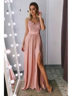 Buy Spaghetti-straps Blush Long Prom Dress, Side Slit Evening Gown just waiting for you to claim it. We are here to help you find something perfectly and utterly unique prom dress to a military ball, formal party, graduation or wedding. Blush Prom Dress, Pink Evening Dress, Pink Prom Dresses, Blush Dresses, Grad Dresses, Dresses For Teens, Evening Dresses, Dresses For Work, Sexy Dresses