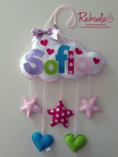 Named mobile for a new baby Baby Crafts, Felt Crafts, Diy And Crafts, Crafts For Kids, Arts And Crafts, Sewing Crafts, Sewing Projects, Felt Mobile, Felt Decorations