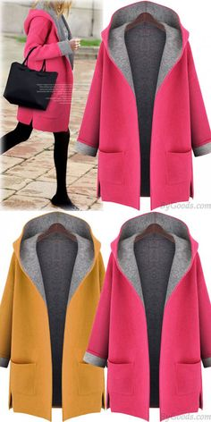 Women's Hooded Loose Woolen Cardigan Jacket Large Size Long-sleeved Woolen Coat for big sale ! Winter Coats Women, Coats For Women, Jackets For Women, Clothes For Women, Iranian Women Fashion, Fashion Women, Curvy Girl Outfits, Casual Winter Outfits, Cardigans For Women