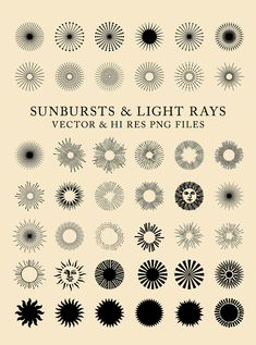 42 Vintage Sunbursts Light Rays Clipart Clip Art by seaquintdesign