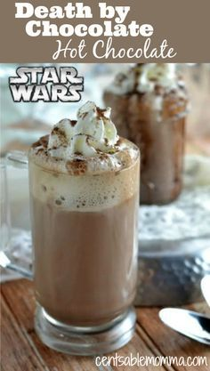 Celebrate the newest Star Wars movie with this Death by Chocolate Star Wars Hot Chocolate recipe. Made with lots of chocolate, vanilla, milk, and cream, it's sure to warm you up on those cold winter days.