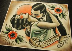 Stay True Traditional Tattoo Print by ParlorTattooPrints on Etsy