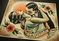 Rester vrai tatouage traditionnel imprimé par ParlorTattooPrints