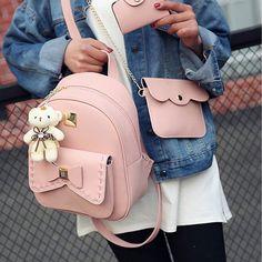 Lovely Bear Pendant PU School Backpacks Gray Pink Splicing Bowknot School Bag