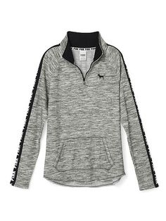 Curved Hem Half-Zip - PINK - Victoria's Secret WOULD GO GREAT WITH THE BLACK UNDER ARMOUR SWEAT PANTS AND THE KD SLIDES I PINNED>>> AND THE NIKE ELITE SOCKS AT THE BOTTOM THAT ARE POLKA-DOTTED!!!!!!!