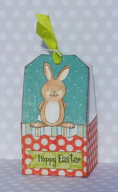 @debbie fisher creates these super cute easter tag boxes on the tombow blog today! She uses tombow mono multi, tombow stamp runner, and  tombow irojiten colored pencils