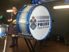 """Today members of """"Kops in Kilts"""" from the Queensland Police Pipes and Drums Band visited the Redcliffe Peninsula and performed to students at the Humpybong"""